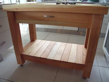 Large Macrocarpa Butchers Block With Drawer Handmade In Nz