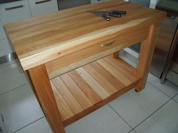 Large Macrocarpa Butchers block with drawer